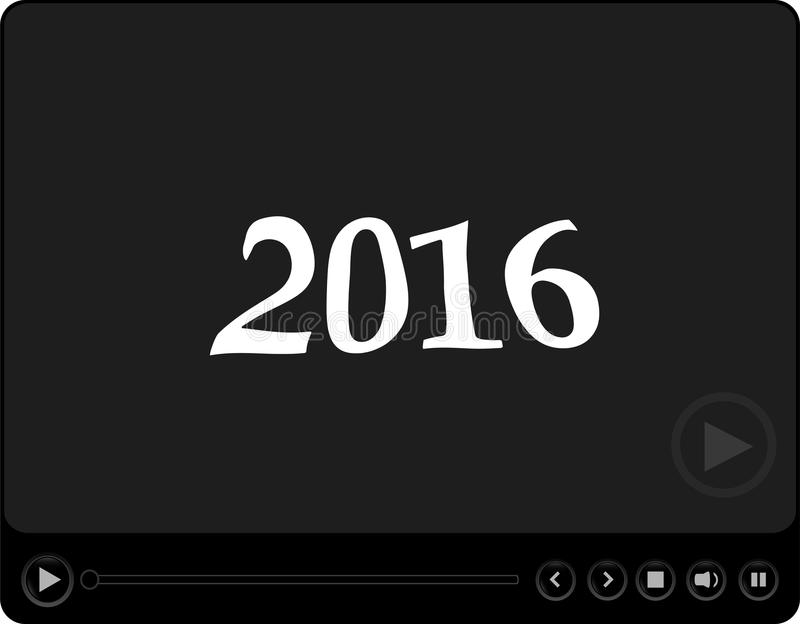 Видео-плейер для сети с символом 2016, медиа-проигрыватель с концепцией Нового Года иллюстрация вектора