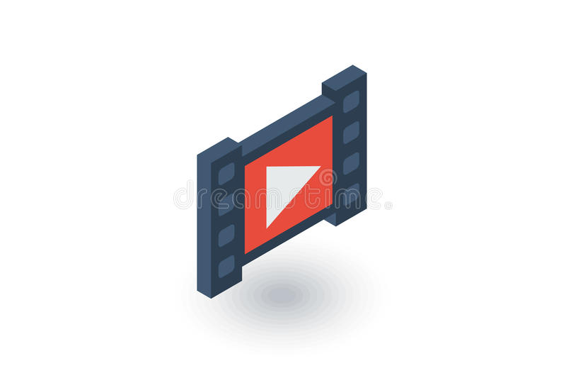 Видео- рамка, кино, фильм, кино, средства массовой информации, значок игрока равновеликий плоский вектор 3d иллюстрация штока