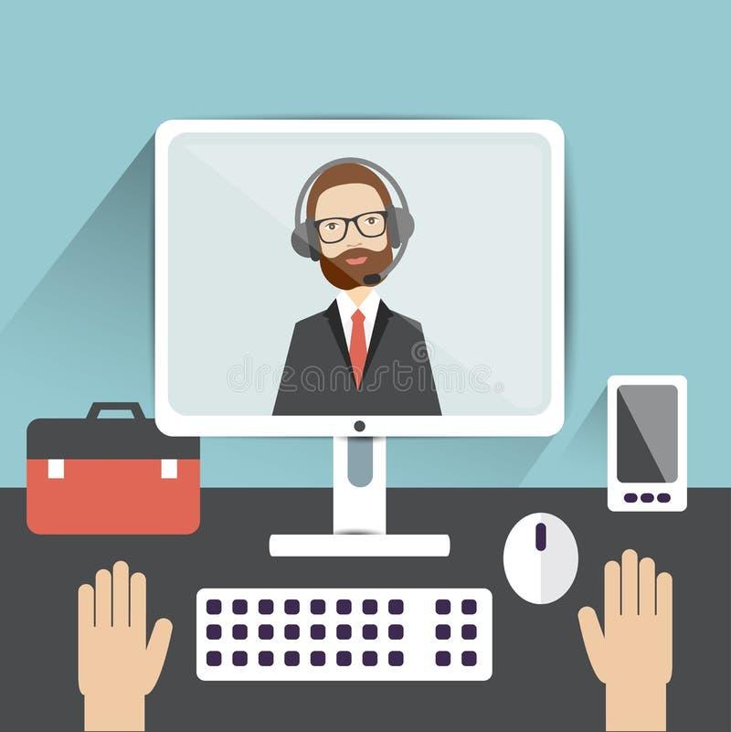 Видео- собеседование для приема на работу Офицер и выбранный иллюстрация вектора
