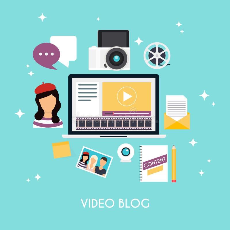 Видео- blogging концепция Infographics шаблона blogging Жулик блога иллюстрация вектора