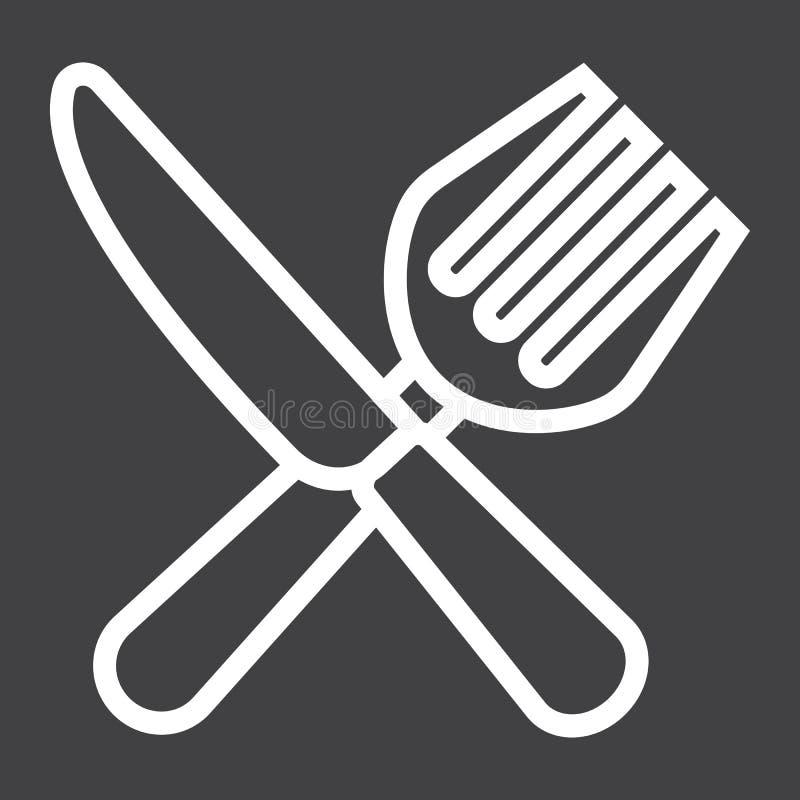 Вилка и нож выравнивают значок, обедающий и ресторан иллюстрация штока