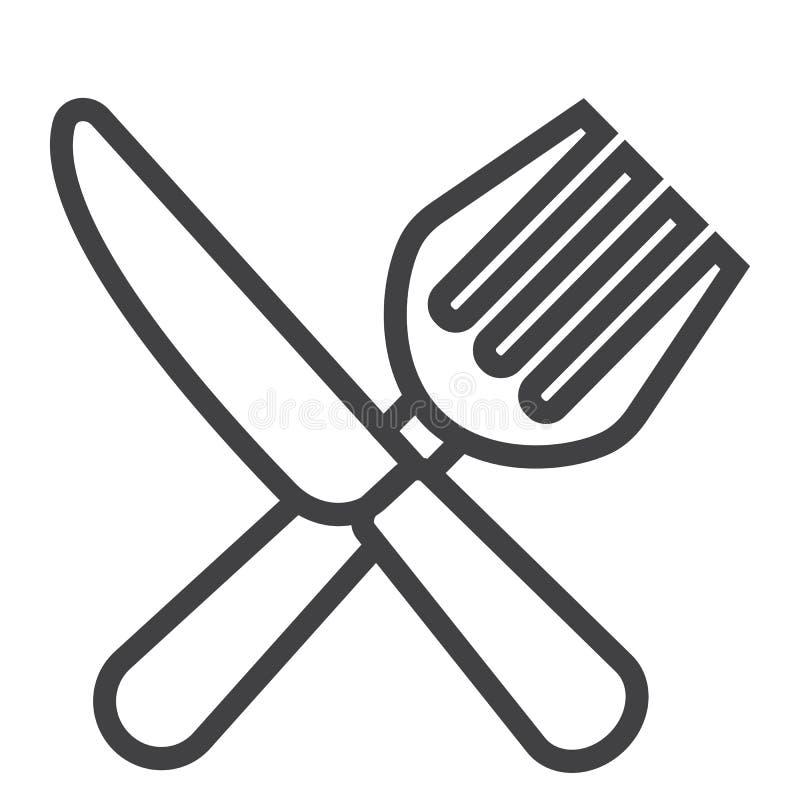 Вилка и нож выравнивают значок, обедающий и ресторан бесплатная иллюстрация