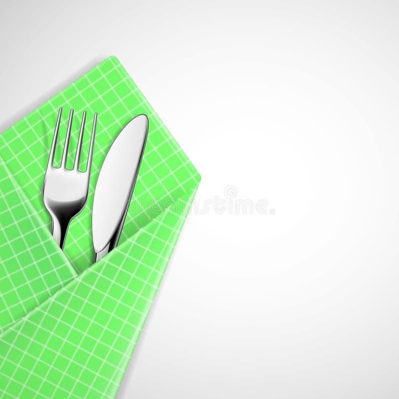 Вилка и нож в салфетке бесплатная иллюстрация