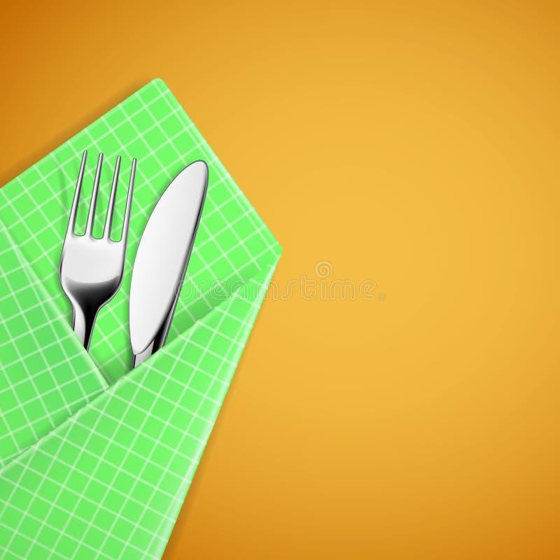 Вилка и нож в салфетке иллюстрация вектора