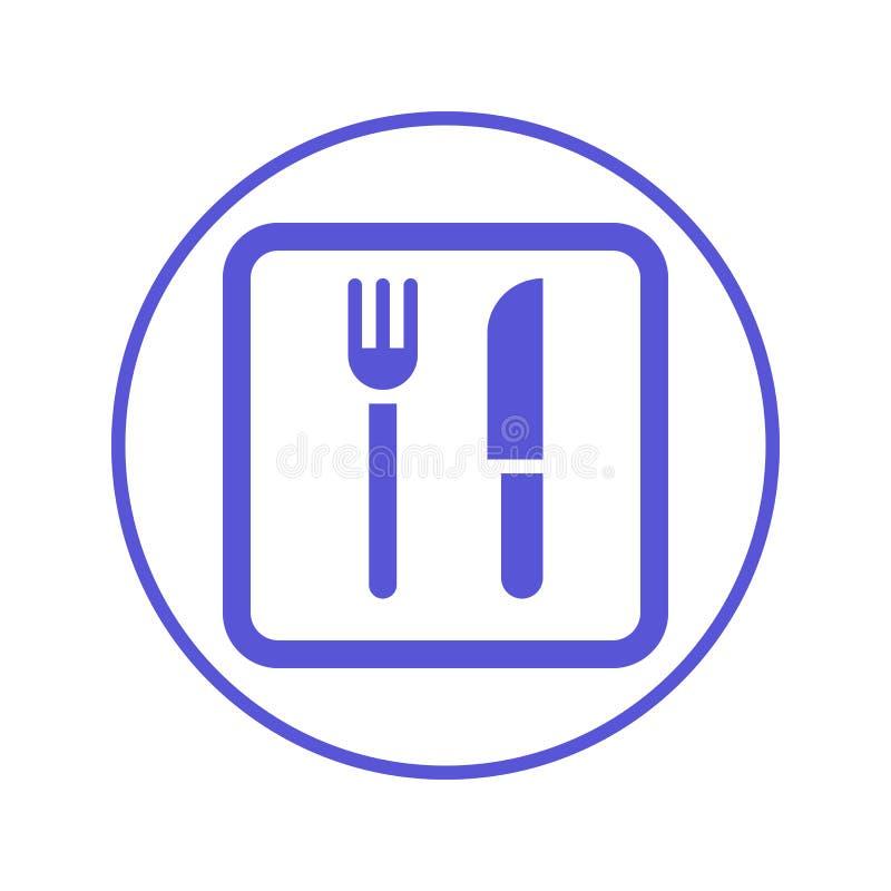 Вилка и нож, линия значок ресторана круговая Круглый знак Плоский символ вектора стиля бесплатная иллюстрация