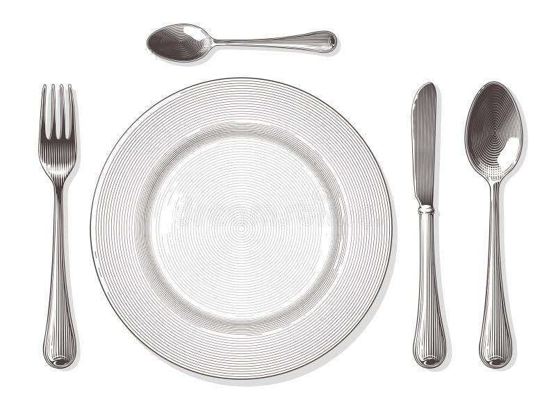 Вилка, ложка, нож, плита в винтажном стиле гравировки бесплатная иллюстрация