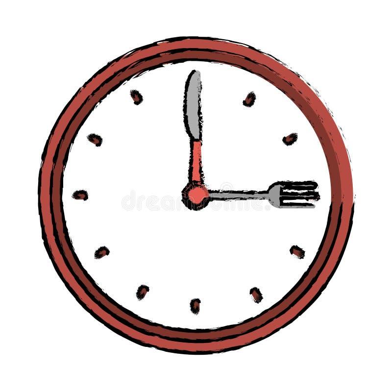 Вилка ресторана обедающего времени часов и чертеж ножа иллюстрация вектора