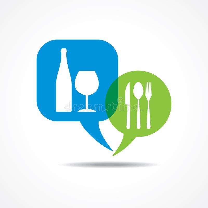 Вилки и бокалы ресторана в пузыре сообщения иллюстрация вектора