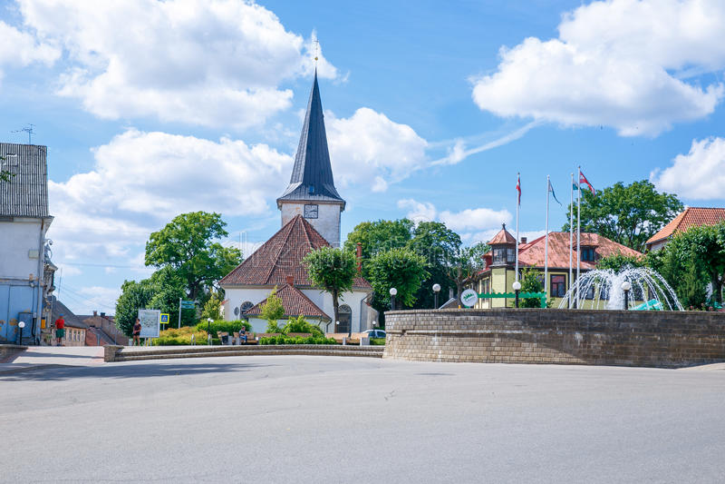 Вид на город на Tukums, Латвии стоковые фотографии rf