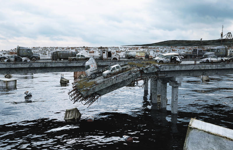 Вид на море апокалипсиса разрушенный мост Концепция Армаагедона перевод 3d стоковые фото