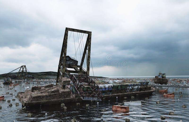 Вид на море апокалипсиса разрушенный мост Концепция Армаагедона перевод 3d стоковое изображение rf