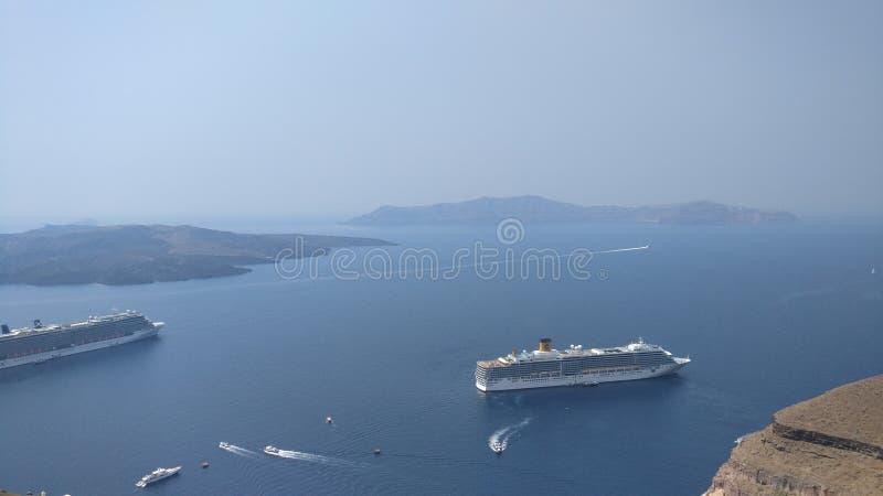 Вид на море Santorini стоковое изображение rf