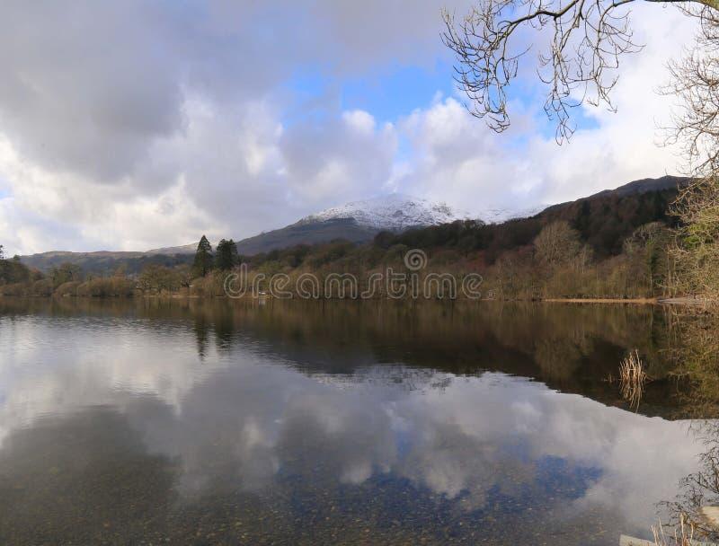 Вид на озеро зимы стоковая фотография