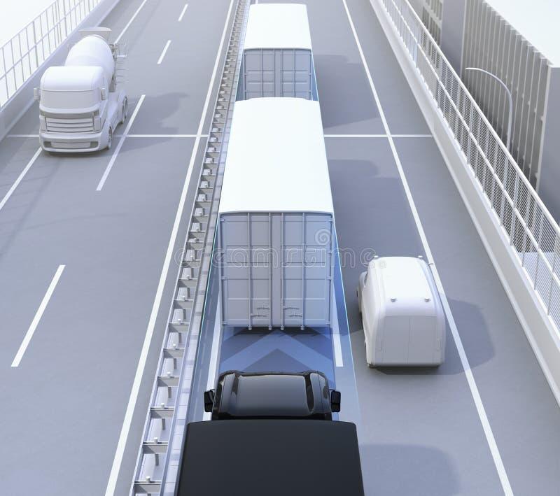 Вид сзади автономного парка грузовых автомобилей управляя на шоссе иллюстрация штока