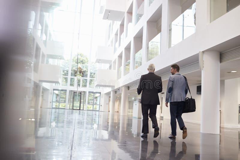 Вид сзади бизнесменов идя через лобби офиса стоковое фото rf