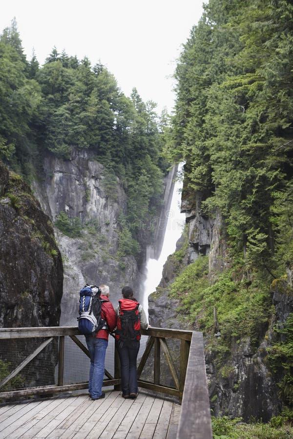 Вид сзади водопада пар наблюдая стоковое изображение rf