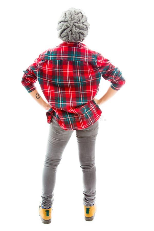 Download Вид сзади молодой женщины стоя с ее оружиями Стоковое Фото - изображение насчитывающей съемка, рубашка: 41651450