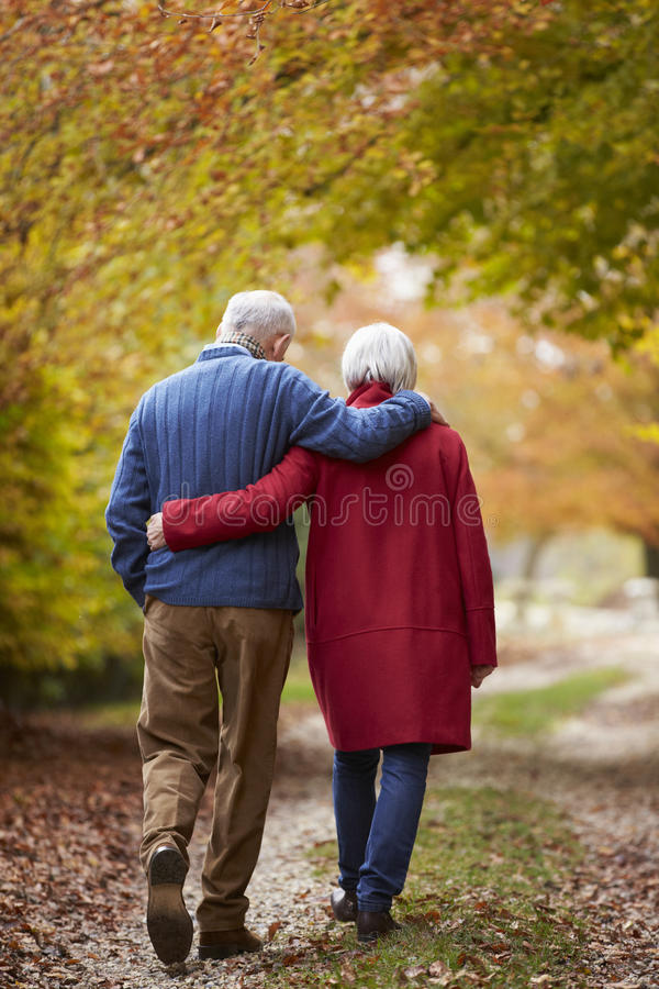 Вид сзади старших пар идя вдоль пути осени стоковые изображения rf