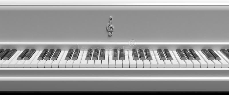 Вид спереди белых ключей рояля бесплатная иллюстрация