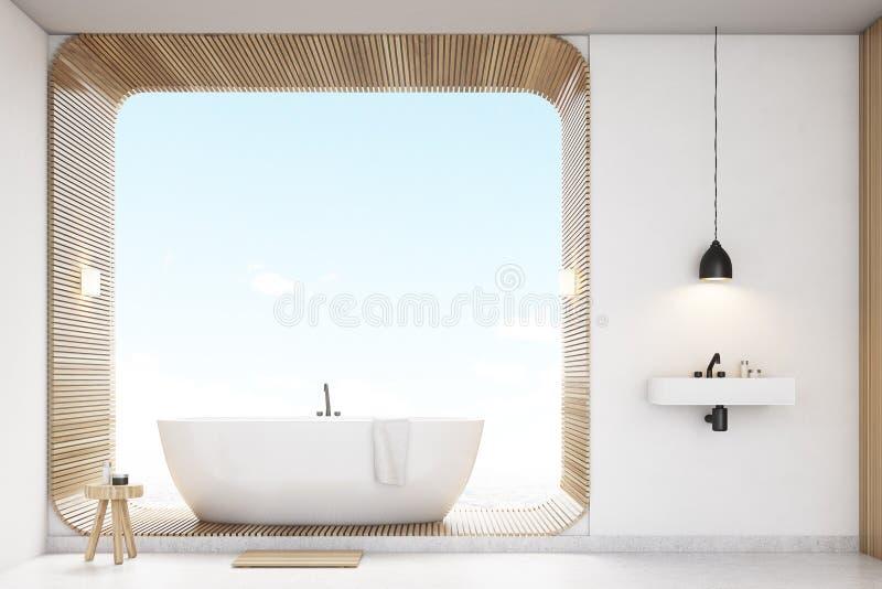 Вид спереди ванной комнаты с древесиной, белое иллюстрация вектора