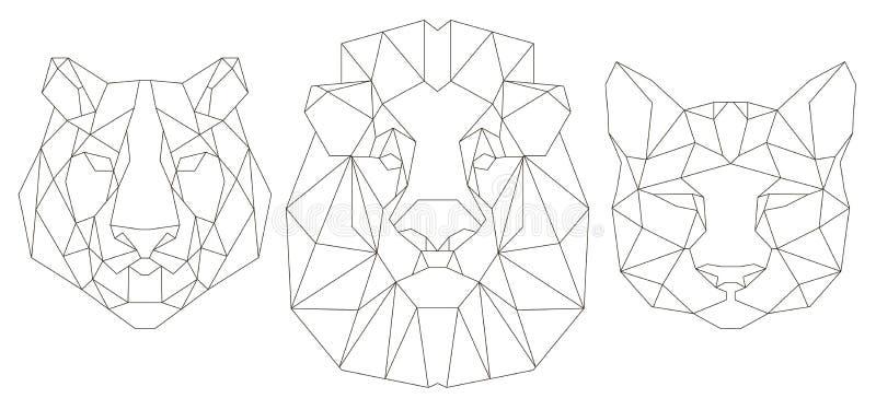 Вид спереди животного головного триангулярного значка иллюстрация вектора