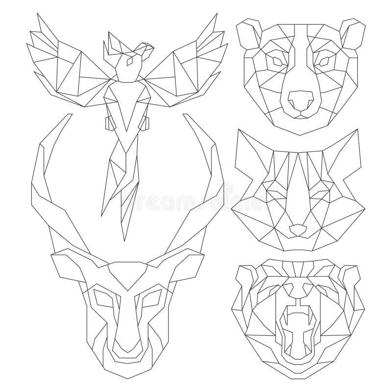 Вид спереди животного головного триангулярного комплекта значка иллюстрация штока
