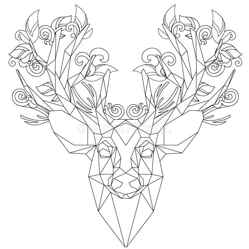 Вид спереди животных головных триангулярных оленей значка иллюстрация вектора