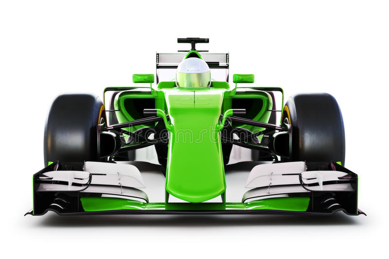 Вид спереди зеленых гоночной машины и водителя на белизне изолировало предпосылку иллюстрация штока