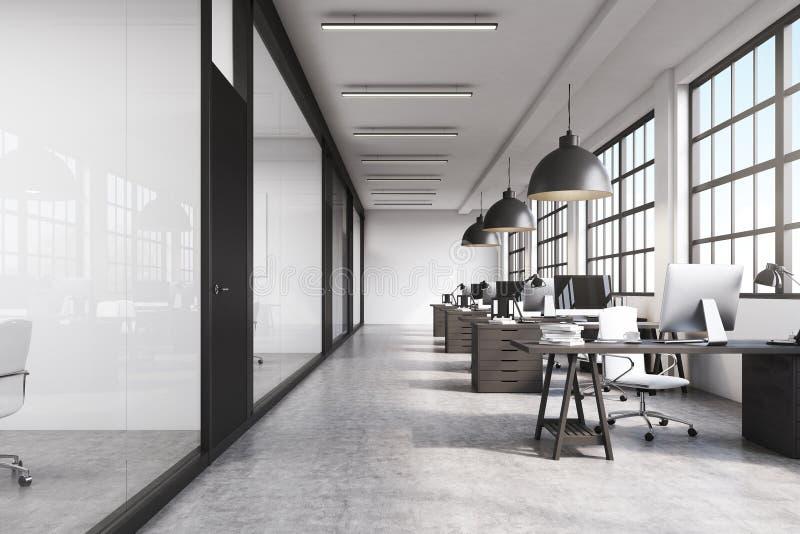 Вид спереди длинного офиса с конкретным полом иллюстрация штока