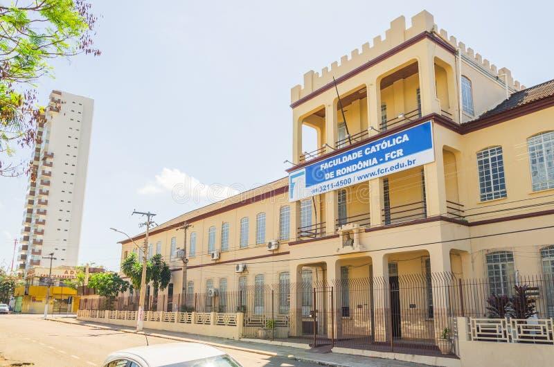 Вид спереди коллежа Faculdade Catolica de Rondonia FCR стоковое фото rf
