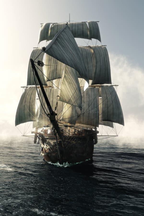 Вид спереди прошивки сосуда пиратского корабля через туман возглавило к камере иллюстрация вектора