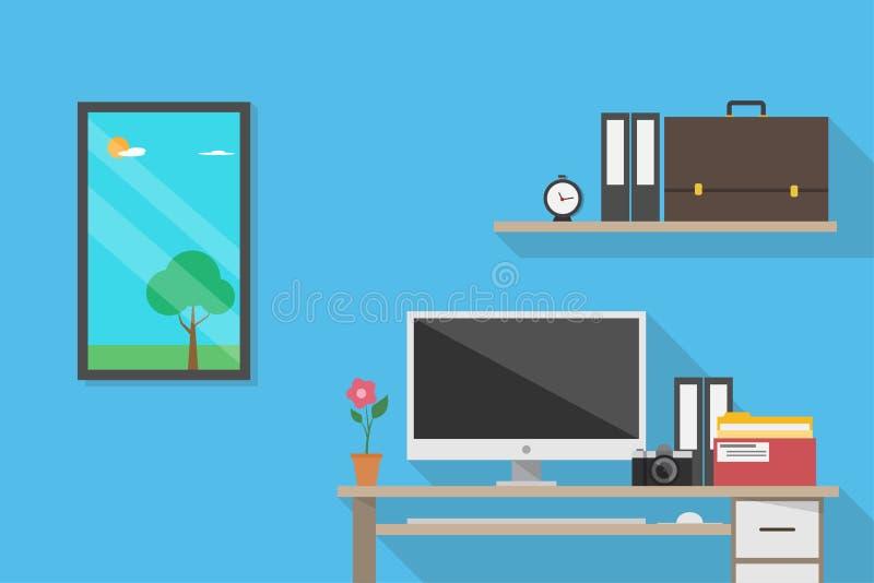 Вид спереди рабочего места, концепция дела бесплатная иллюстрация