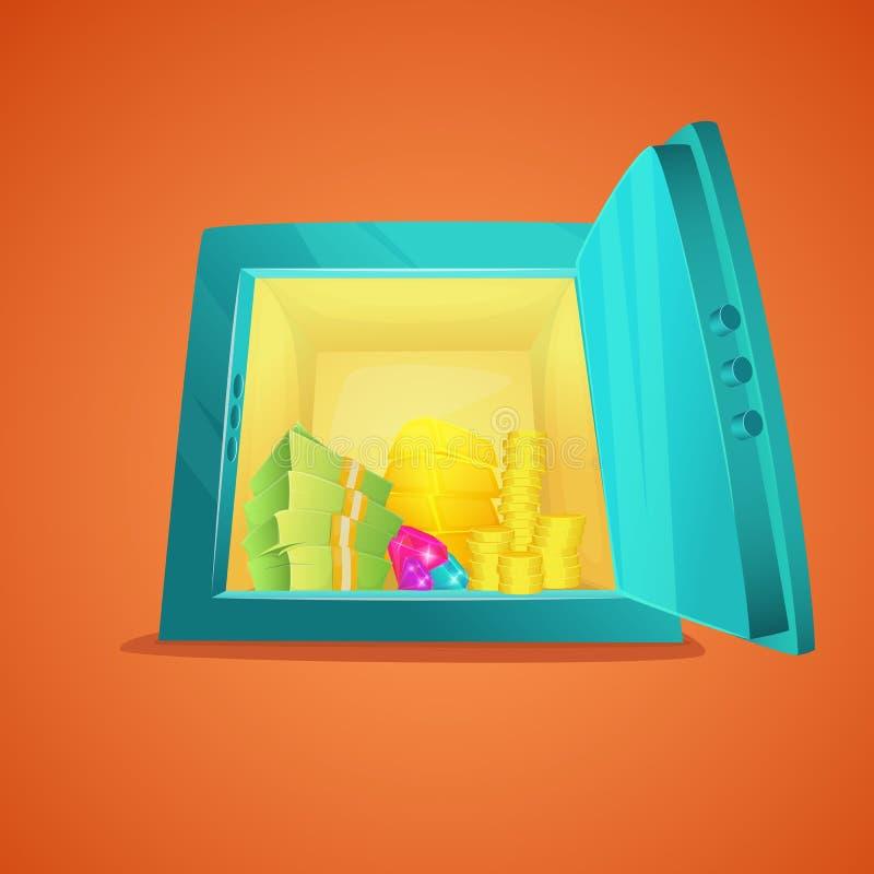 Вид спереди сейфа шаржа Раскрытый металлический сейф шаржа с деньгами внутрь, бар золота, монетки, стога наличных денег доллара в иллюстрация штока