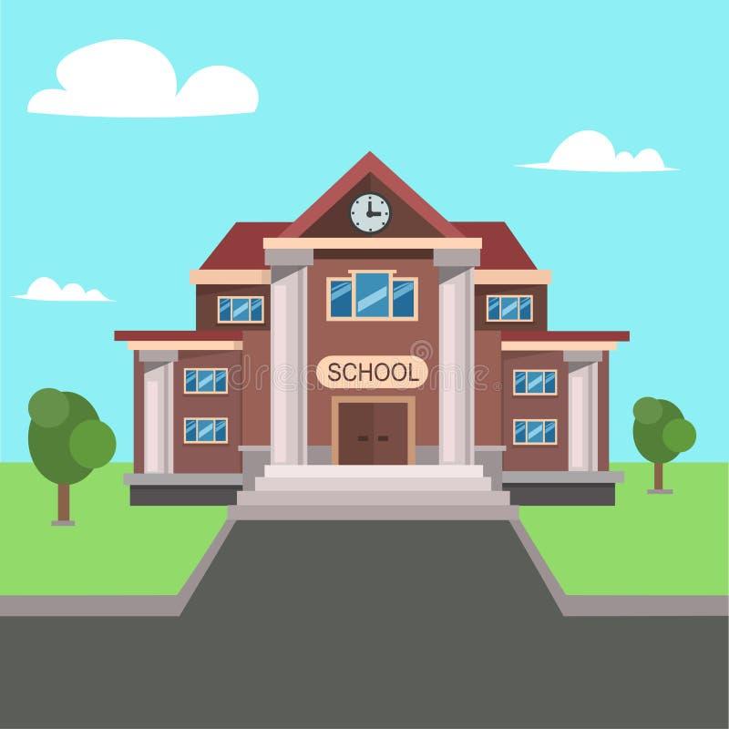Вид спереди школы вектор бесплатная иллюстрация