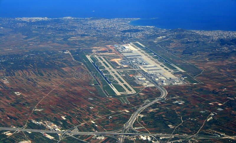 Вид с воздуха авиапорта Афин стоковое изображение