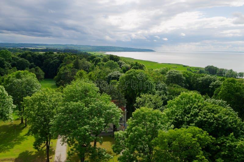 Вид с воздуха лагуны Вислы стоковое изображение rf