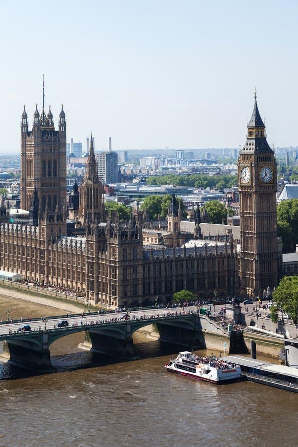 Вид с воздуха Вестминстера, Лондона стоковое изображение rf