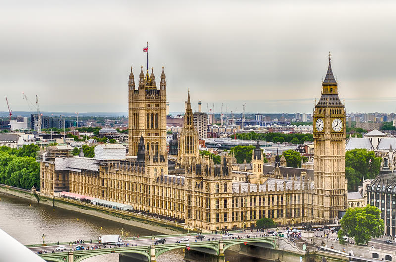 Вид с воздуха дворца Вестминстера, парламент Великобритании, стоковое фото rf