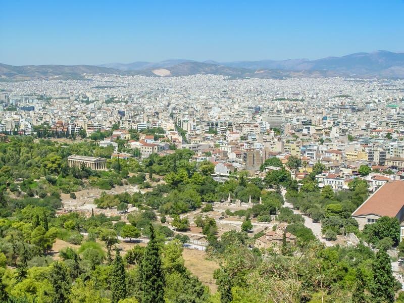 Вид с воздуха города Афин столица Греции стоковая фотография