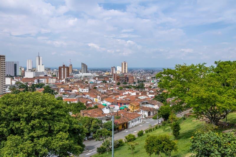 Вид с воздуха города Cali - Cali, Колумбии стоковое изображение rf