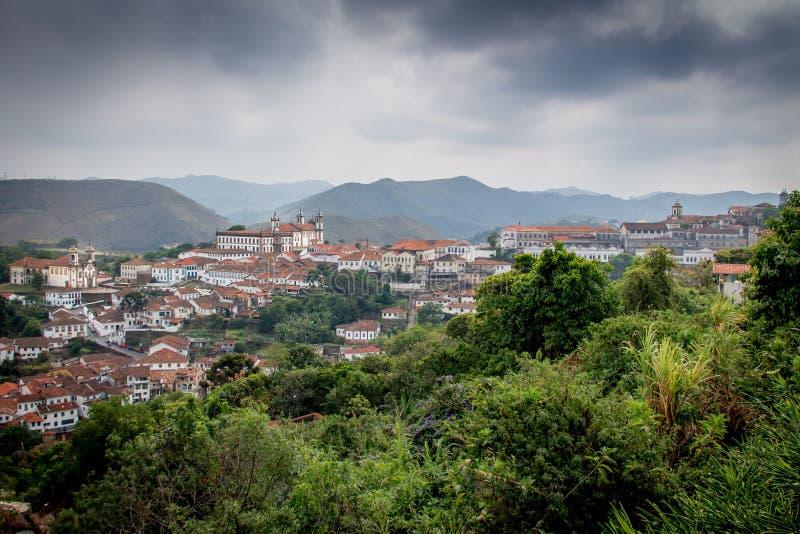 Вид с воздуха города Ouro Preto - мин Gerais, Бразилии стоковая фотография