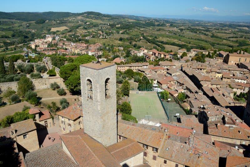 Вид с воздуха города San Gimignano в Тоскане, Италии стоковое изображение rf