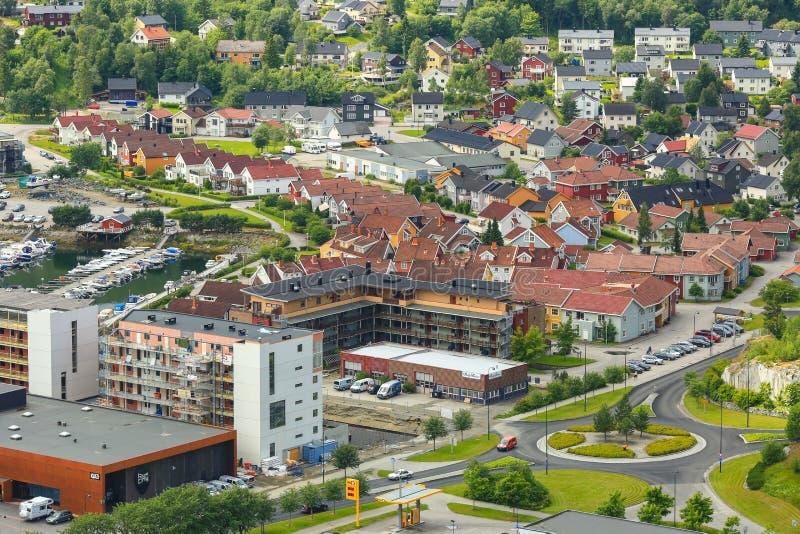 Вид с воздуха городка Namsos, Норвегии стоковые изображения