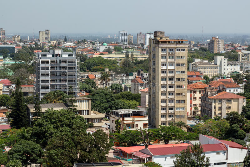 Вид с воздуха городского Мапуту стоковая фотография