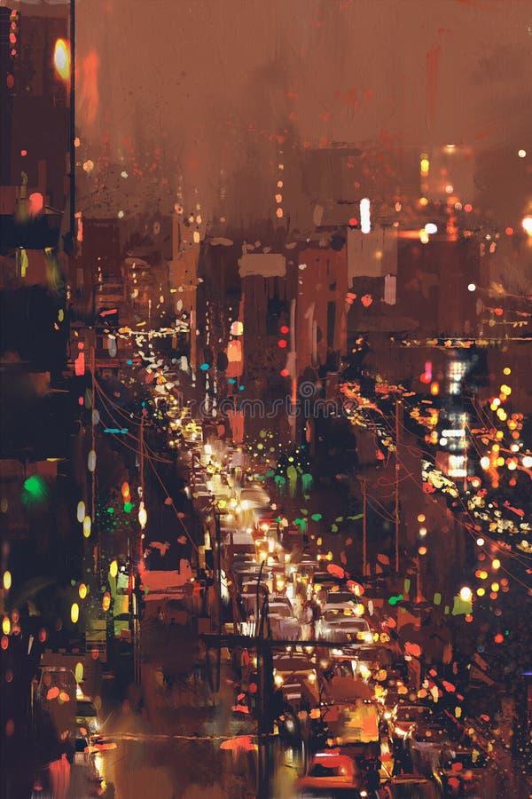 Вид с воздуха городского пейзажа ночи с красочным светом стоковая фотография rf