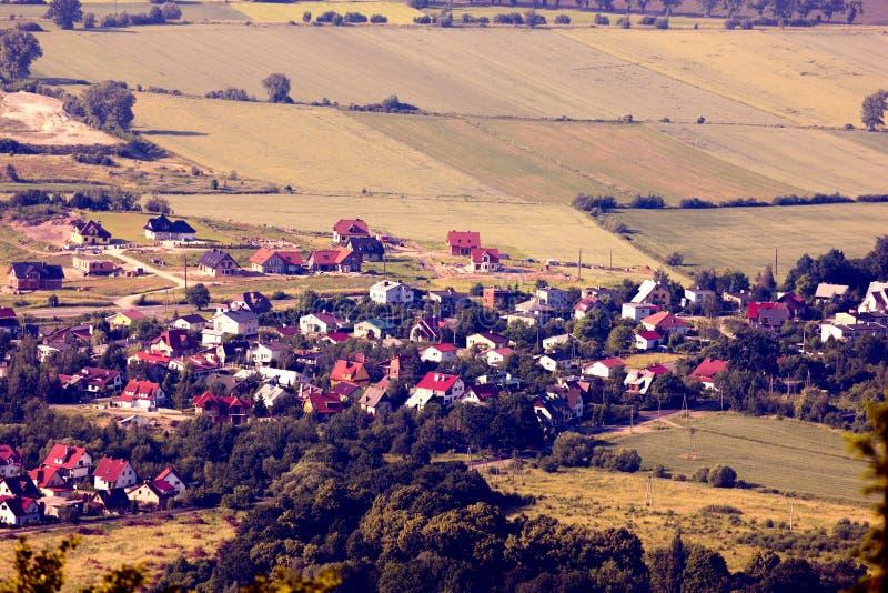 Вид с воздуха деревни стоковые изображения