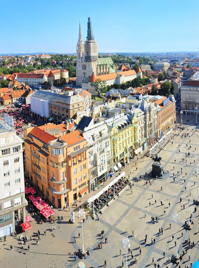 Вид с воздуха Загреба Хорвата стоковое изображение
