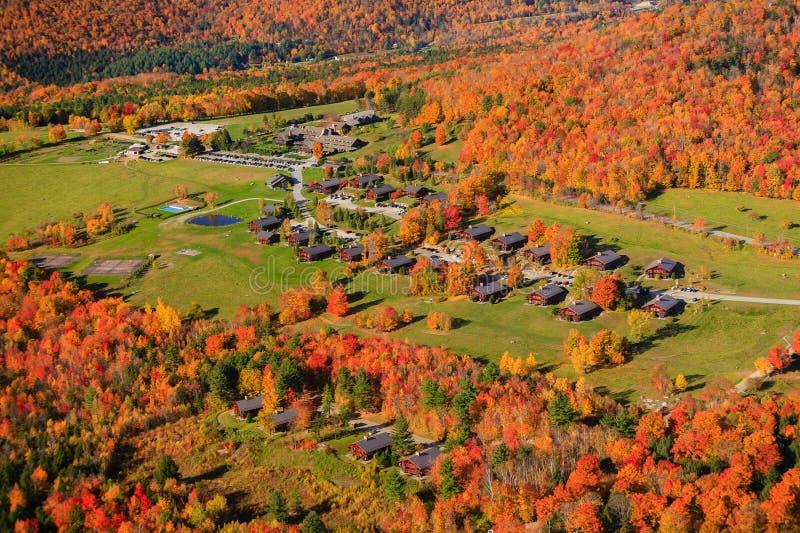 Вид с воздуха листопада в Stowe, Вермонте стоковые изображения