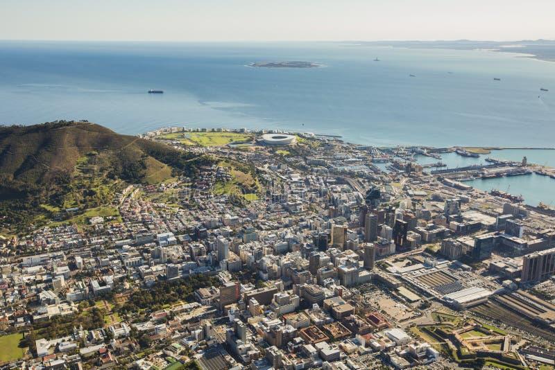 Вид с воздуха Кейптауна Южной Африки стоковое фото
