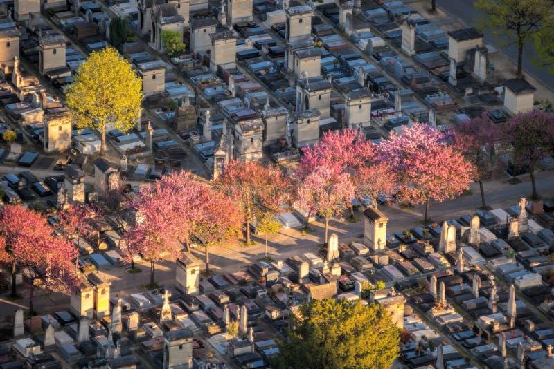 Вид с воздуха кладбища Montparnasse в Париже, Франции стоковые фотографии rf
